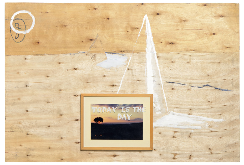 Today is the day, marker on found object, 34 x 42, 2014 Landscape, acrylic & etching on wood, 80 x 120, 2014